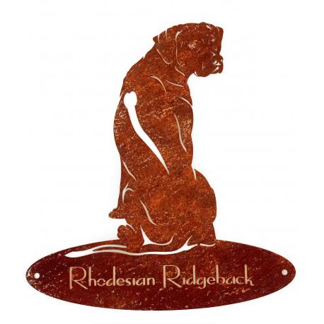 Rosttafel - Rhodesian Ridgeback sitzend - 40cm