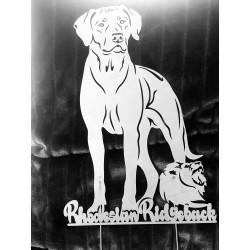 Rost- Edelstahlfigur Rhodesian Ridgeback stehend m. Löwe, Edelrost Gartendekoration